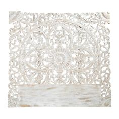 Carved solid mango wood headboard in white with distressed finish W 160cm Kerala | Maisons du Monde