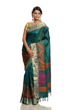 870f0e155338fe Bottle Green Colored Body with Bavanju Horizontal Stripes Border with  Floral Motifs Stylish Soft Silk Saree