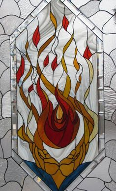 6) God the Holy Spirit - Flame - Kent Lutheran Church, Sunrise Beach, MO (Lake of the Ozarks) by Les & Sandy Burnett  - GlassMoose.com (formerly Art-Attack-Studios)