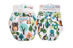 Give a Hoot, Don't Pollute - Bittees Stay-dry Newborn AIO Diaper – Nuggles Designs Canada - This cloth diaper features owls and trees. #clothdiapers