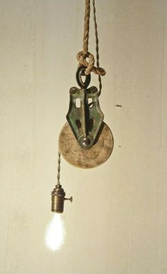vintage pulley light Industrial Lighting Project Idea Project Difficulty: Medium MaritimeVintage.com   #Industrial #Lighting