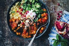 Moroccan aubergine and chickpea stew with millet (as couscous) and minty avocado salad