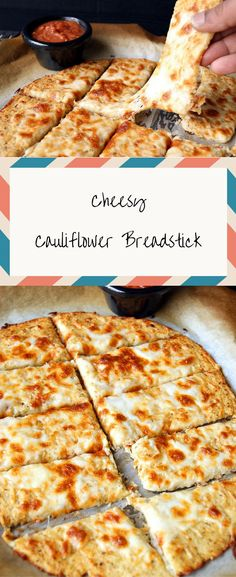 Cauliflower Breadsticks A super easy and delicious Cheesy Breadstick made from cauliflower. Perfect to include in your weekend fun.A super easy and delicious Cheesy Breadstick made from cauliflower. Perfect to include in your weekend fun. Califlower And Cheese, Cauliflower Cheese Bread, Cauliflower Breadsticks, Cheesy Breadsticks, Cheesy Cauliflower, Cauliflower Crust, Cauliflower Recipes, Low Carb Recipes, Diet Recipes