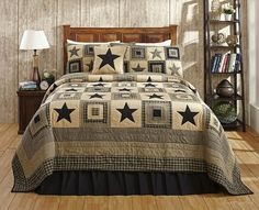 Black Star Patchwork Quilt Set by Olivias Heartland Colonial Star King Size #OliviasHeartland #Country