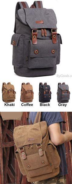 Retro Men's Canvas Large Capacity Outdoor Travel Rucksack Splicing Leather Belts School Laptop Backpack for big sale! #school #travel #laptop #leather #backpack #college #Bag