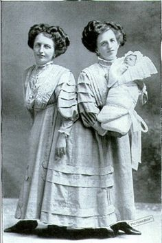 Conjoined twins Josefa & Rosa Blazek (1878-1922) with Rosa's son in 1910.  I don't know of any other conjoined twin giving birth.  Their manager was rumored to be the father, but they never disclosed this publicly.  Little Franz joined their act as 'the son with two mothers'.  The twins came down with influenza in 1922 and died within minutes of each other.