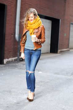 Leather jacket, mustard scarf, stripped top, skinny jeans & leopard flats!