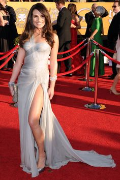 Lea's straightened locks looked amazing, and she's never looked sexier than in this slinky, leg-baring Versace gown.