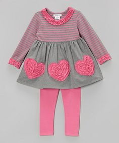 Another great find on #zulily! Pink & Gray Stripe Heart Tunic & Pink Leggings  - Toddler #zulilyfinds