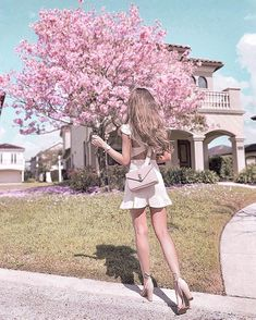Currently in bed coughing my heart out wishing I was back in Orlando! I literally squealed at every cherry blossom sighting  dress from @vergegirl and heels from @rayethelabel @revolve #kerinaootd