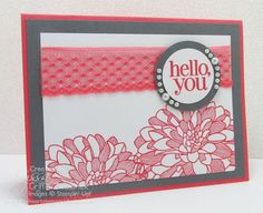 Watermelon Wonder Lace Dahlia Card Stampin Up