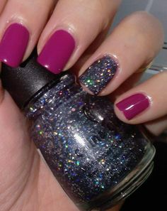 I have the glittery polish featured on the ring finger, Some Like It Haute, by China Glaze.  Paired with this fuschia color, it is too cute.