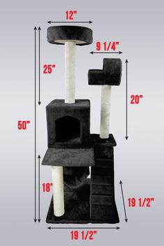 "Black Deluxe 50"" Cat Tower Tree w Condo Scratcher Furniture Kitten HouseToy | eBay #$69.95"