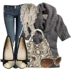 Comfy and Cute :) Gray cowl neck sweater + dark skinnies + snakeskin python accessories