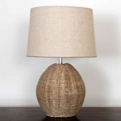 Constructed with a rattan weave designed base and neutral textured lamp shade, our stylish table lamp will bring a decorative touch to any living space. Rattan Lamp, Wicker Table, Blue Table Lamp, Table Lamps For Bedroom, Bedside Table Lamps, Bedroom Lighting, Console Table, Contemporary Front Doors