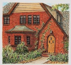 I love the #roundtop door on this #akron #ohio house don't you?  And the #brick pattern around it too. #penandink #pendrawing #penandinkart #penandinksketch #penportrait #architectural #archilovers #architecturelovers #archiporn #akronohio #houseportrait #homeportrait #pastelportrait #pastel #fabercastell #fabercastellpolychromos #commission #commissionart #commissionportrait #brickhouse  #talentedpeopleinc #magicgallery #artofinstagram #pasteldrawing #instaartist #redbrick by ruthsartwork