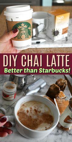 Starbucks Chai tea latte is a popular black tea infused with spices like cinnamon and cloves. Starbucks Chai tea latte is a popular black tea infused with spices like cinnamon and cloves. Starbucks Recipes, Starbucks Drinks, Coffee Recipes, Coffee Drinks, Starbucks Iced Chai Tea Latte Recipe, Chia Tea Latte Recipe, Tea Drinks, Drink Recipes, Hot Tea Recipes