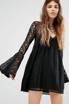Rokoko Lace Insert Smock Dress - Black #modasto #giyim #moda https://modasto.com/rokoko/kadin/br41855ct2