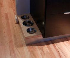 Built-in dog bowls in kitchen