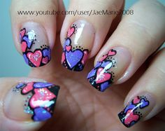 Valentine's Day Hearts-Nail Art Design.. These r super cute