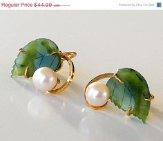 SALE Vintage Sorrento Gold Filled Earrings Genuine Pearls Jade 1/20 12K GF