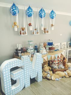 Teddy bear party, dessert table, diy, teddy bear theme, teddy bear hot air balloon, teddy bear swing
