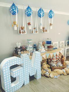 Teddy bear party, dessert table, diy, teddy bear theme, teddy bear hot air balloon, teddy bear swing