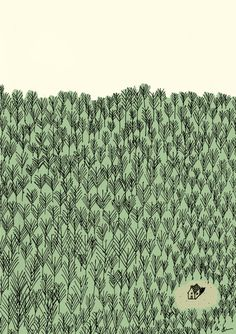 Illustration - Luiz Stockler....this just made me smile because it reminds me of where I live...surrounded by nature.