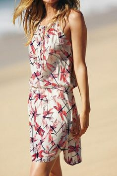 Adorable Dragonflies Printing Beach Dress! So Cute! Red White and Blue Dragonflies Summer Fashion