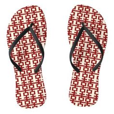 Red Double Happiness Chinese Wedding Flip Flops designed by fatfatin