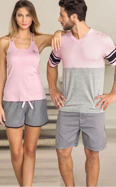 Dia dos pais - Spring-Summer 2016 - Mixte Pijamas Couple Pajamas, Sexy Pajamas, Pyjamas, Matching Pajamas, Big Men Fashion, Pretty Lingerie, Moda Fitness, Matching Couples, Sleepwear Women