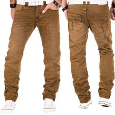 Timezone Herren Jeans Hose Cargo Denim Chino Coloured Clubwear Slim Fit Bronze
