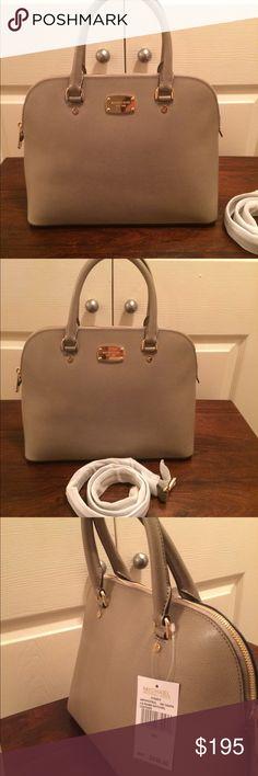 Micheal kors handbag Micheal kors Cindy LG Dome Satchel leather / NWT / color Dk Taupe / $298 Michael Kors Bags Satchels