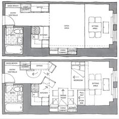 """Yen Ha and Michi Yanagishita of New York's Front Studio redesigned a 380 square foot straight-line studio. From New York Times  feature Sketch Pad, """"focuses on an apartment, house, loft or shack now for sale that has unrealized potential. Each month, a different architect or designer is asked to create a vision of what the place might look like"""""""