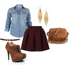 Jean top, Dark blood red shirt, Brown leather skinny belt, bold earrings, brown booties