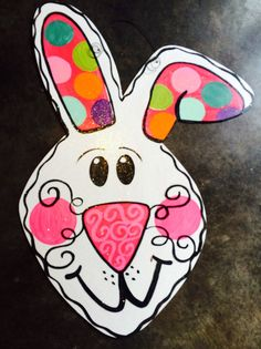Easter bunny door hanger by JustDotsCo on Etsy