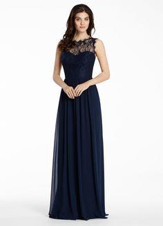 Illusion Neck Lace Bodice A-line Long Chiffon Bridesmaid Dress
