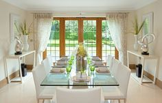 Curtains dining room drapes medium images of sage green dining room curtain Glass Dining Room Sets, Dining Room Drapes, Bright Dining Rooms, Green Dining Room, Elegant Dining Room, Beautiful Dining Rooms, Dining Room Design, Dining Room Furniture, Plywood Furniture