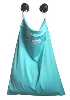 """Lagoon - Hanging Wet Bag - Nuggles Design Canada - #Clothdiapers   18"""" x 24"""", with two handles that unsnap, you can hang it anywhere! Link the two together for one sturdy handle! Can also be used to line a small pail.  Our nifty mesh-lined pouch allows you to put essential oils or a scented disc, or even carbon filter (just remember to remove before washing.) Holds approximately 15-20 diapers, OR dirty laundry, towels and swim suits, funky sports equipment .... the list goes on!"""