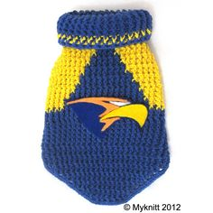 West coast eagles dog sweater AFL #Handmade #crochet #AFL #football #westcoasteagles #eagles