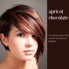 Apricot and chocolate hair, asymmetrical hairstyle