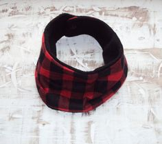 Black Fleece with Red and Black Plaid Print Infinity by ZigZagRags