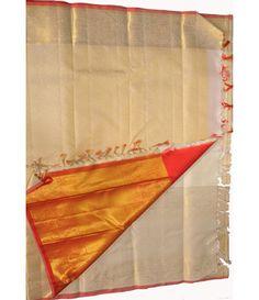 Off White Handloom Pure Kanjeevaram Silk Saree