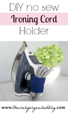 Don't let your ironing cord clutter up your laundry room! Make your own easy NO SEW way to detangle & organize your ironing cord!     ironing cord holder, organizing laundry room, ironing cord, etc!