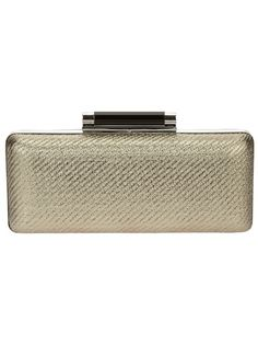 Gold-tone leather and cotton clutch from Diane von Furstenberg featuring a black bar clasp to the top, a hard box body covered in gold-tone woven cotton with a plain black leather back, a detachable silver-tone shoulder chain and a logo detailed pocket to the interior.