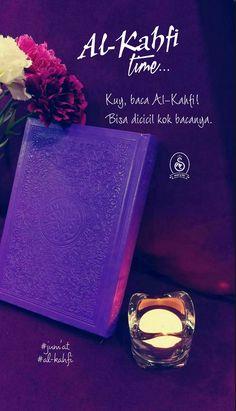 Kuy, baca Al Kahfi. Jumat Mubarak, Al Kahf, Friday Im In Love, Islamic Art, Quotations, Perfume Bottles, Doa, Curtains, Blinds