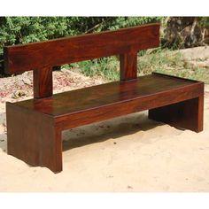 Block Style Solid Wood Indoor Outdoor Bench Furniture