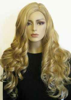 Dark blonde wig, wavy, side parting, extra long: Honesty - Long Two Tone Blonde Wig With Corkscrew Curls A deliciously feminine extra long, two-tone blonde Blonde Highlights Curly Hair, Long Blonde Wig, Brown To Blonde Balayage, Blonde Curly Hair, Warm Blonde, Side Swept Hairstyles, Curly Weave Hairstyles, Pretty Hairstyles, Curly Hair Styles