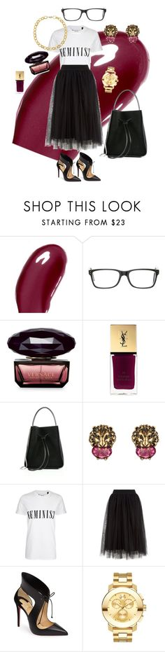 """""""Untitled #92"""" by tammy-stacey ❤ liked on Polyvore featuring Chantecaille, Polo Ralph Lauren, Versace, Yves Saint Laurent, 3.1 Phillip Lim, Gucci, Tee and Cake, Christian Louboutin, Movado and Laundry by Shelli Segal"""