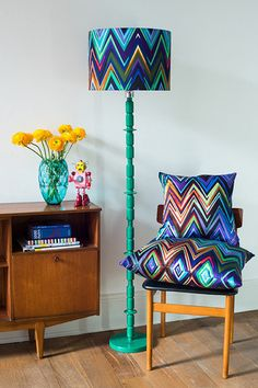 basil green pencil: Pop Colours for Summer Interiors by Parris Wakefield Additions Floor Lamp Shades, Table Lamp Shades, Bankers Lamp, Alpine Flowers, Small Cushions, Danish Modern, Lampshades, Zig Zag, Decoration